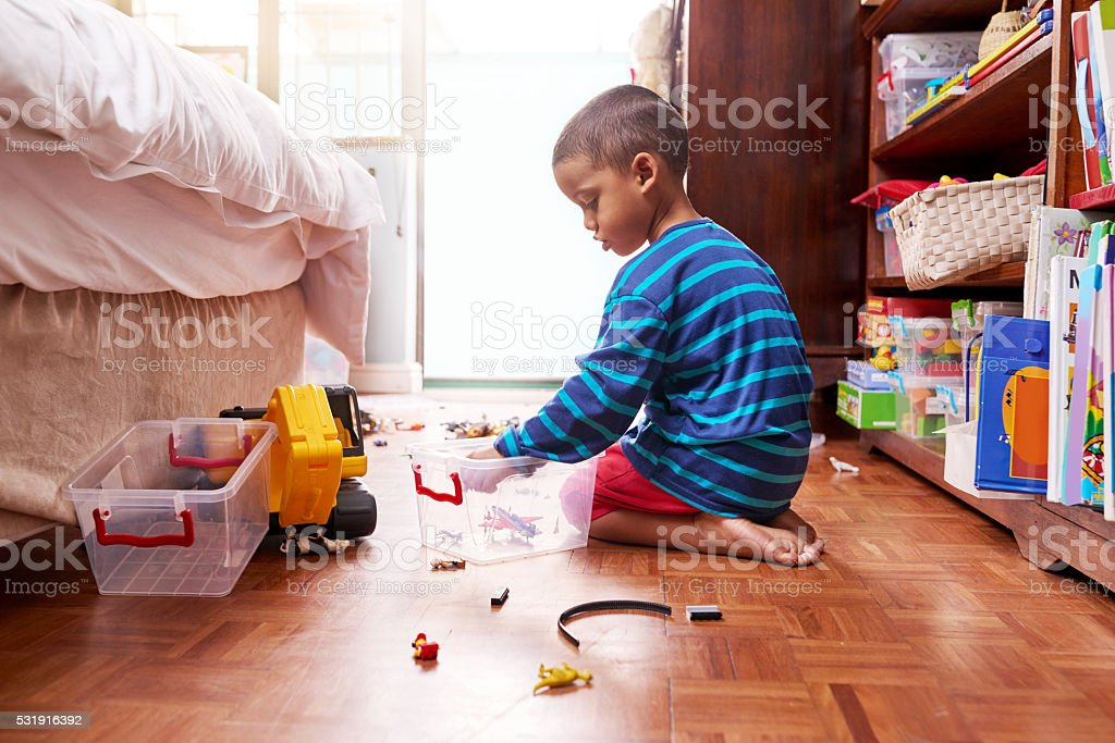 Playing and packing stock photo