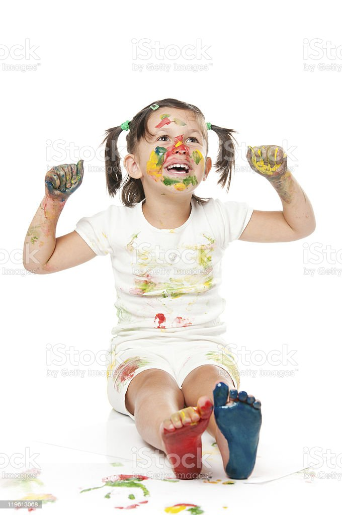 Playing and painting with colors royalty-free stock photo