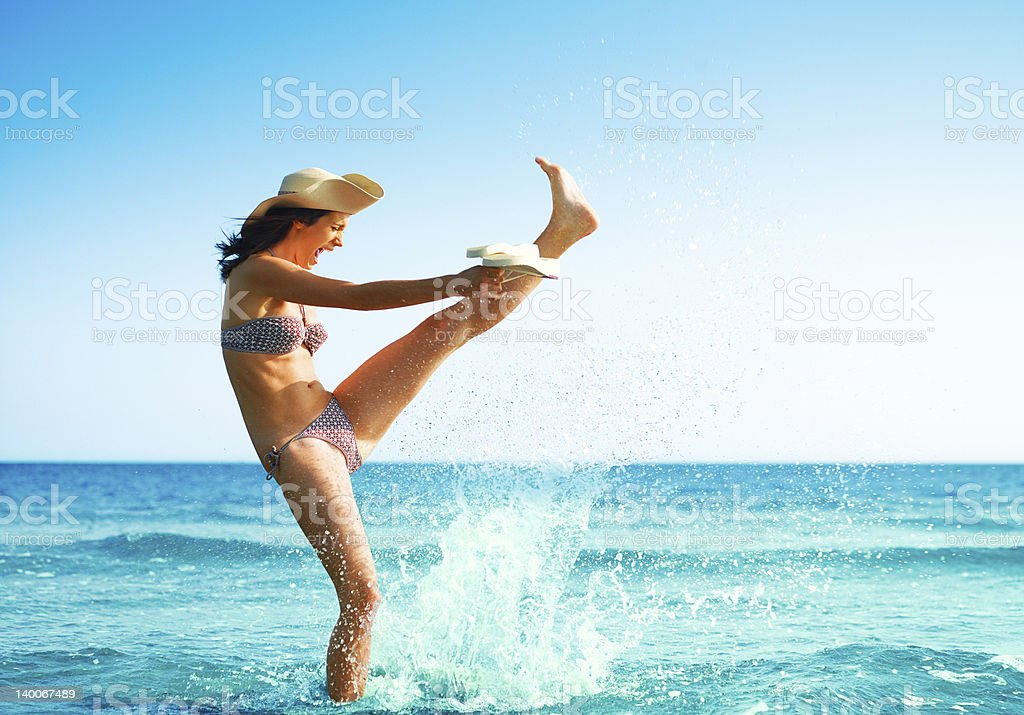 Playing at the beach royalty-free stock photo