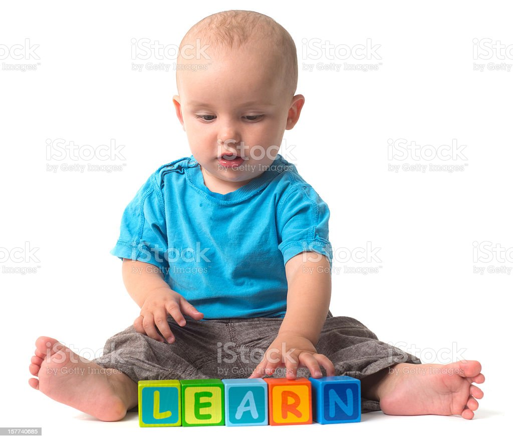 playing Baby - learn with cubes toys royalty-free stock photo