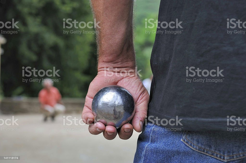 Playing jeu de boules stock photo