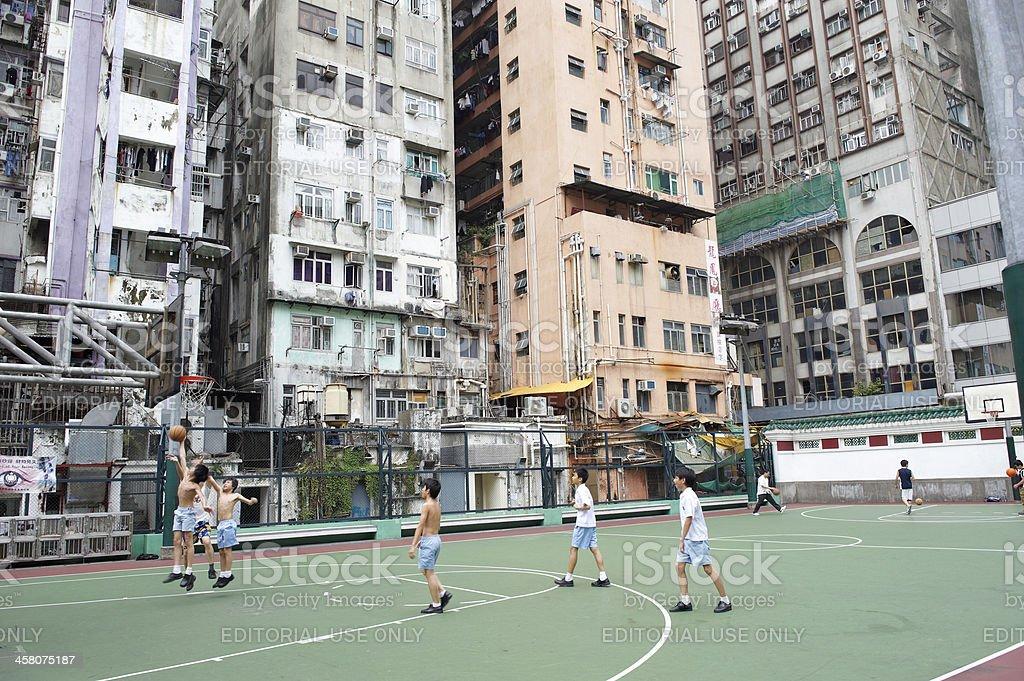 Playing Basketball in Hong Kong stock photo