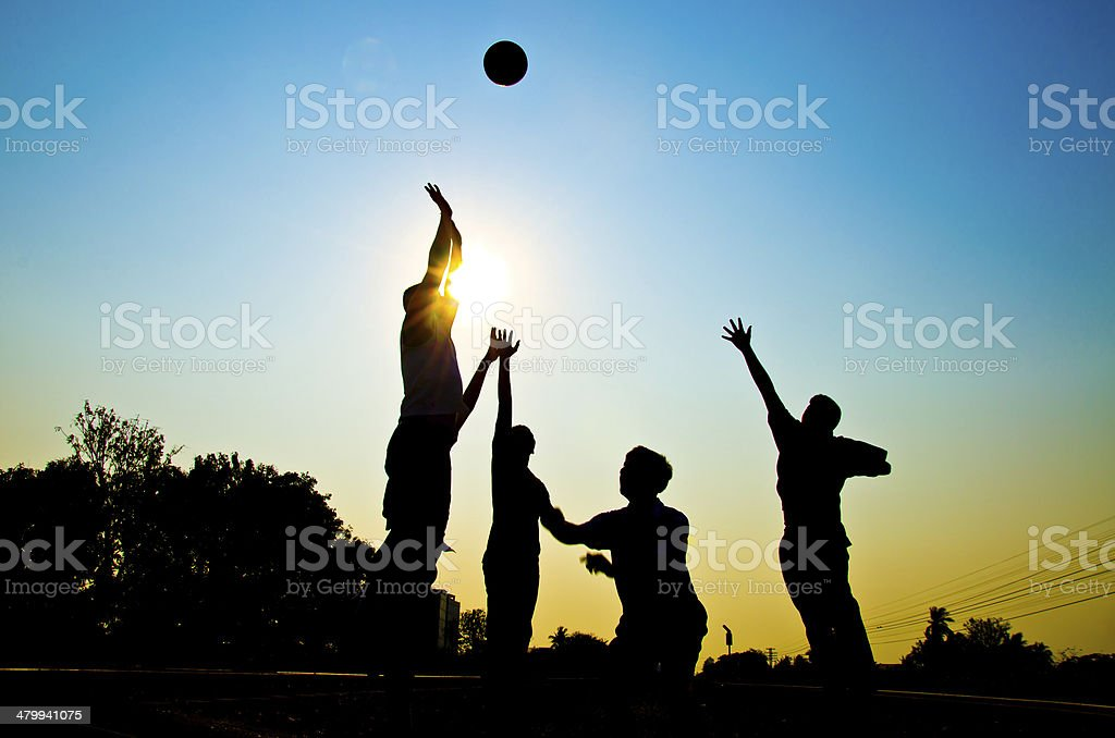 Playing basketball stock photo
