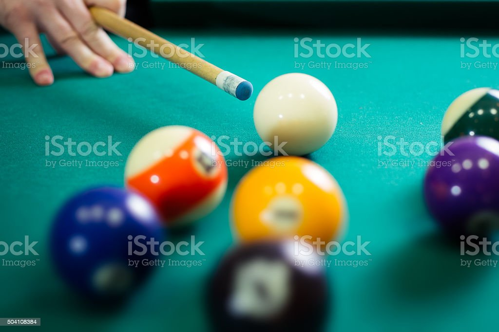 Playing  billiards stock photo