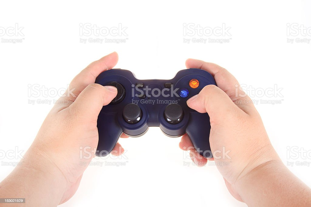 Playing blue PC game pad joystick royalty-free stock photo