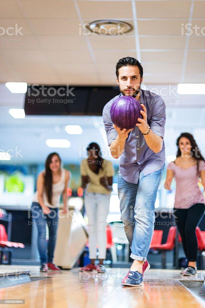 playing bowling , happiness players stock photo