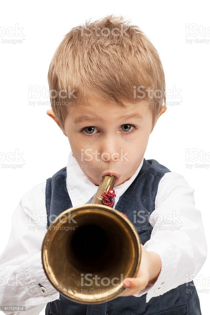 Playing bugle child stock photo