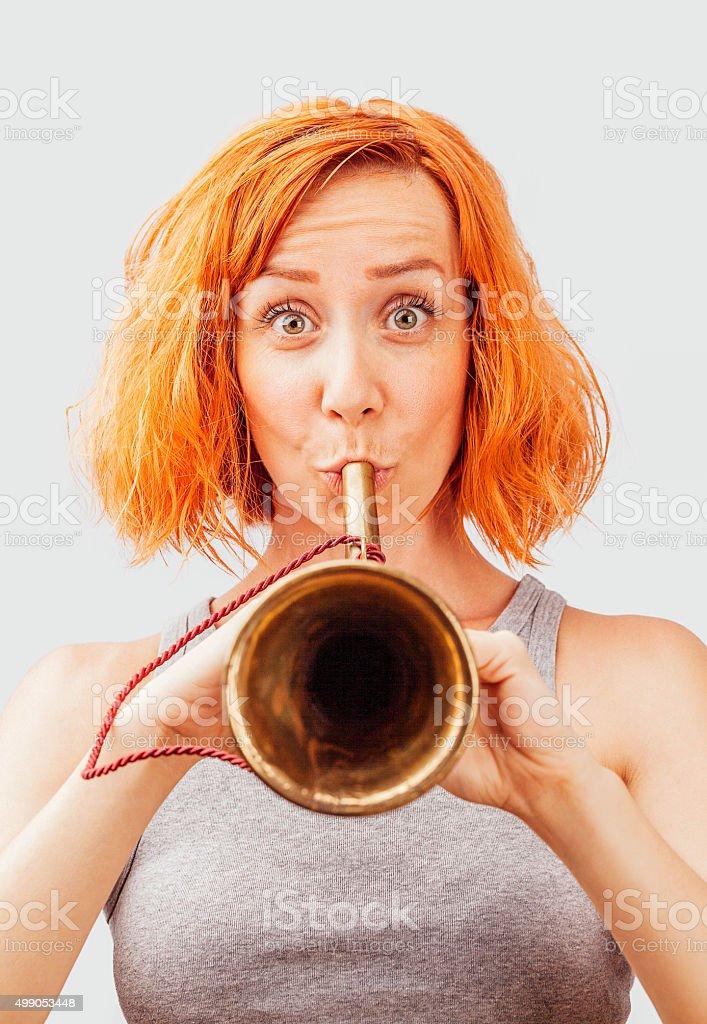 Playing bugle stock photo