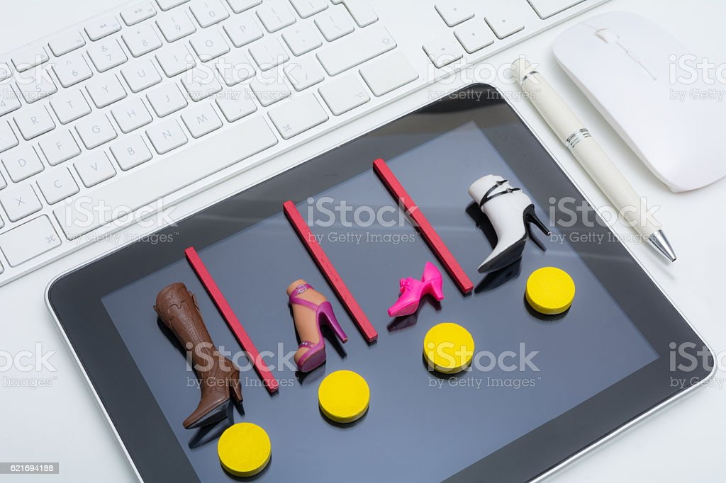 Playing buying online stock photo