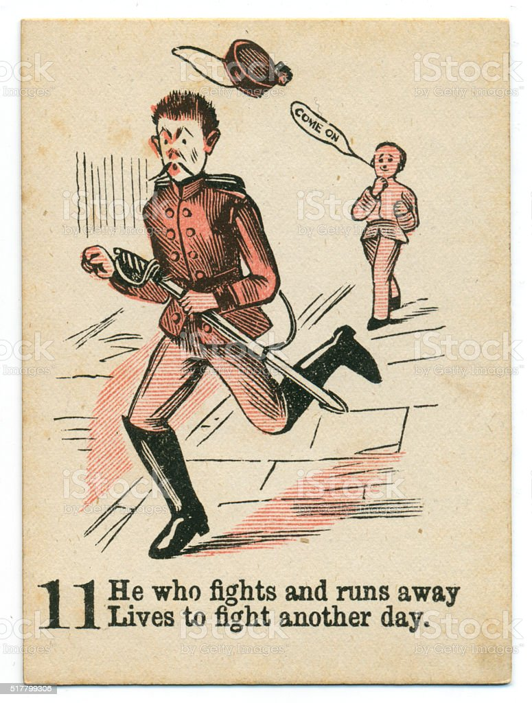 Playing card 1890s Vicorian proverb prudence stock photo