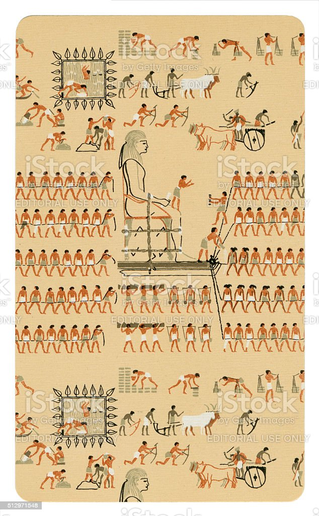 Playing card back 4000 year old Egyptian hieroglyphs stock photo