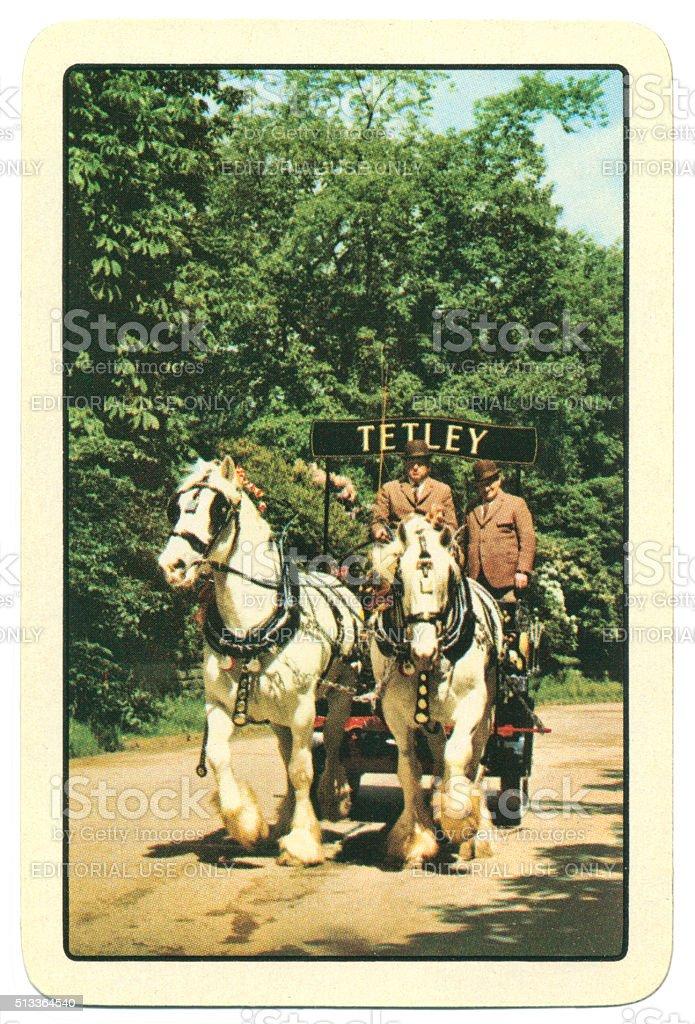 Playing card back alcohol advertising Tetleys 1950s stock photo