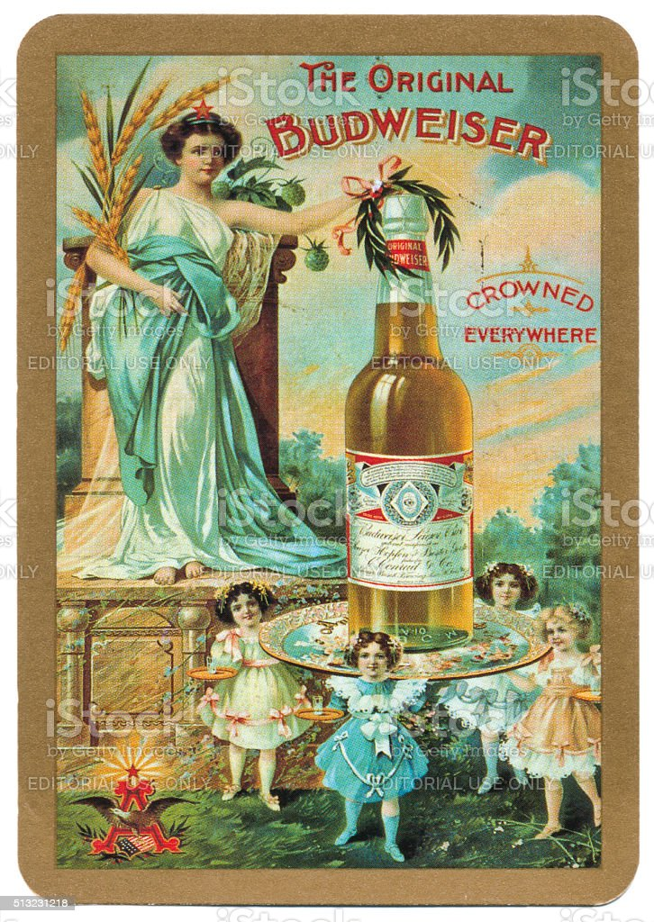Playing card back alcohol advertising the original Budweiser stock photo