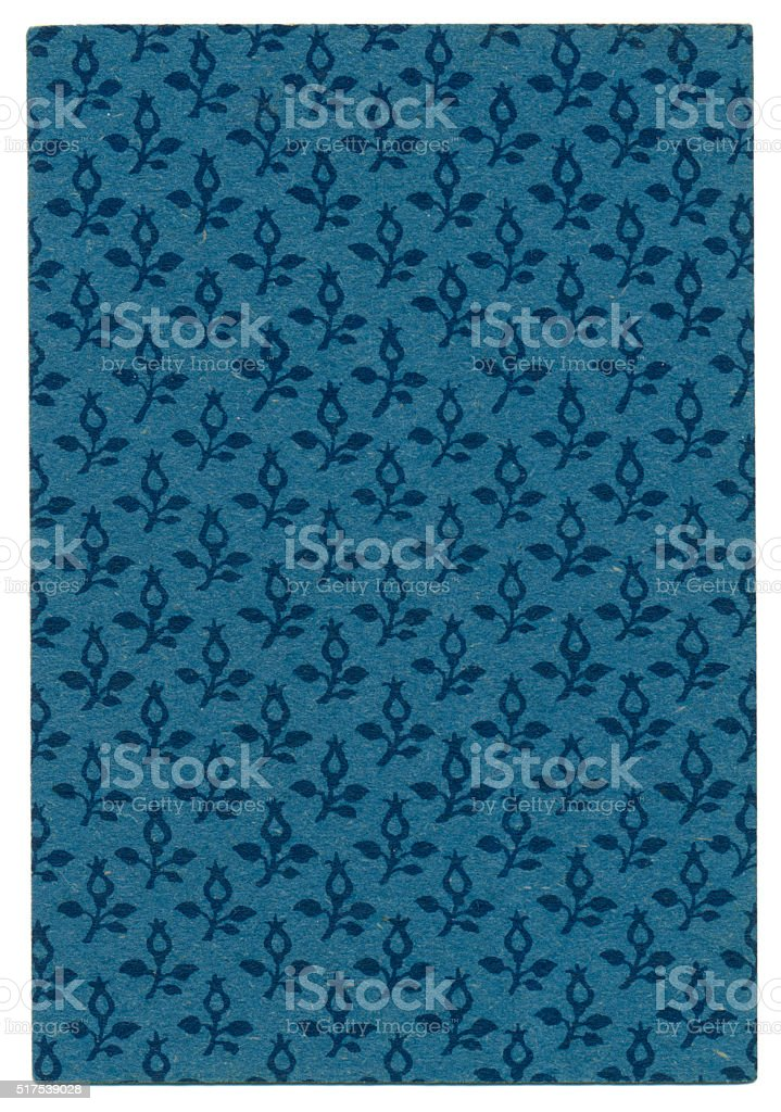 Playing card back design rose hips on blue 1860 stock photo