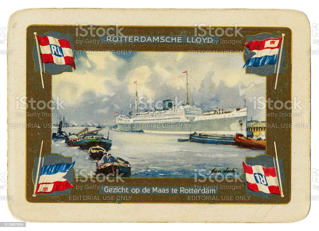 Playing card back design shipping Rotterdamsche Lloyd 1940 stock photo