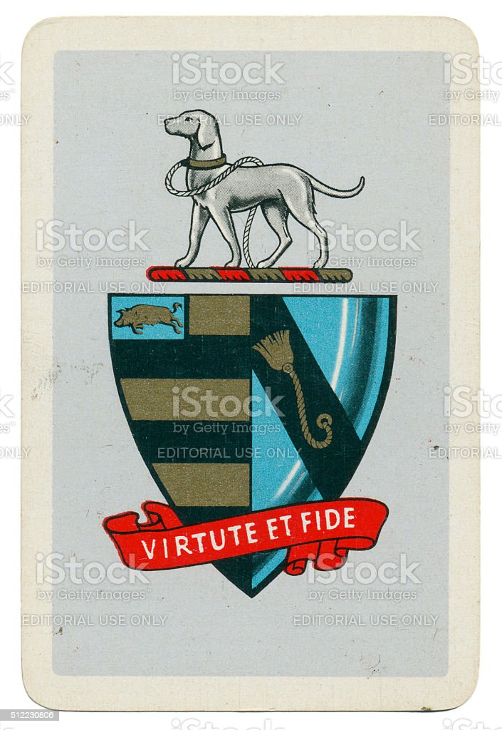 Talbot crest on Marriott Morley coat of arms playing card stock photo