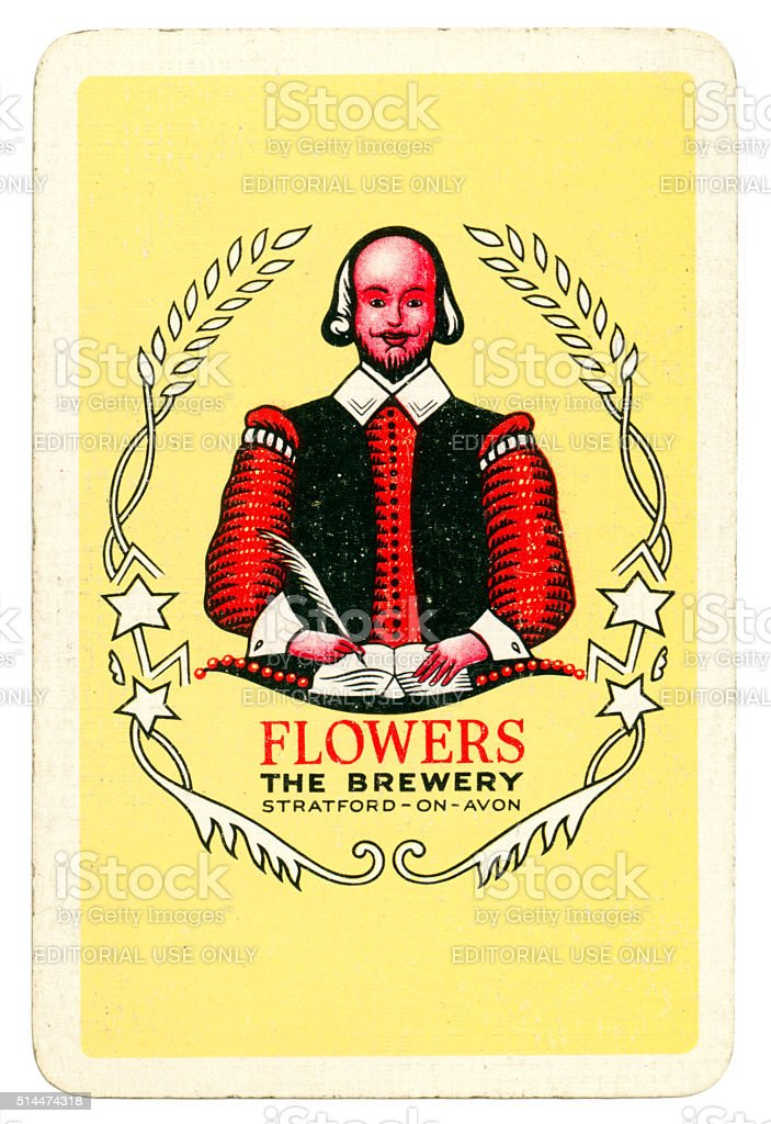 Playing card back alcohol advertising Flowers Brewery 1950 stock photo