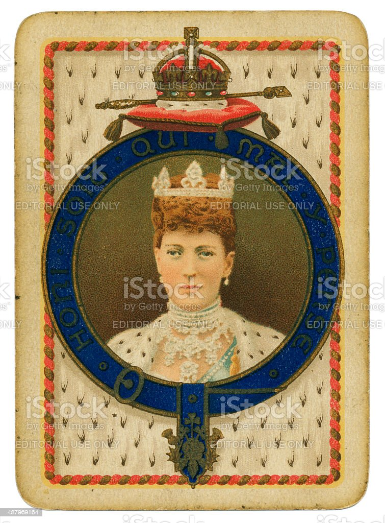 Playing card coronation 1902 Queen Alexandra stock photo