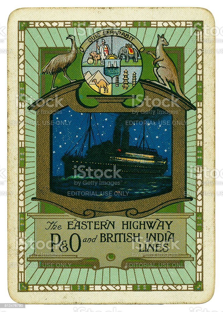 Playing card P&O and British India Lines 1930 stock photo