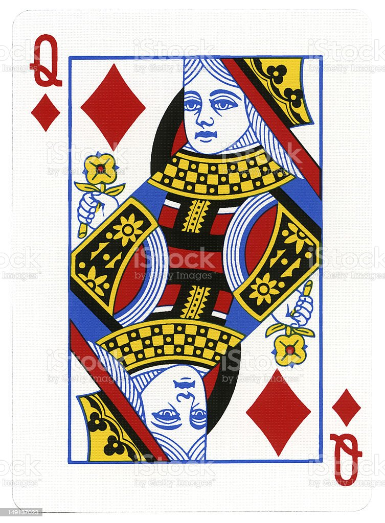 Playing Card - Queen of Diamonds stock photo