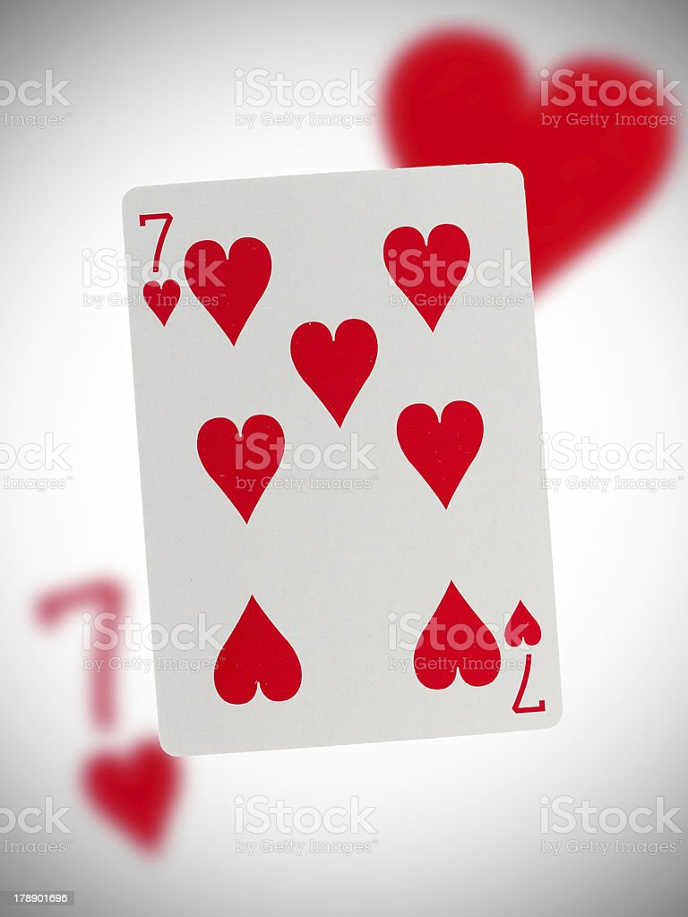 Playing card, seven of hearts stock photo