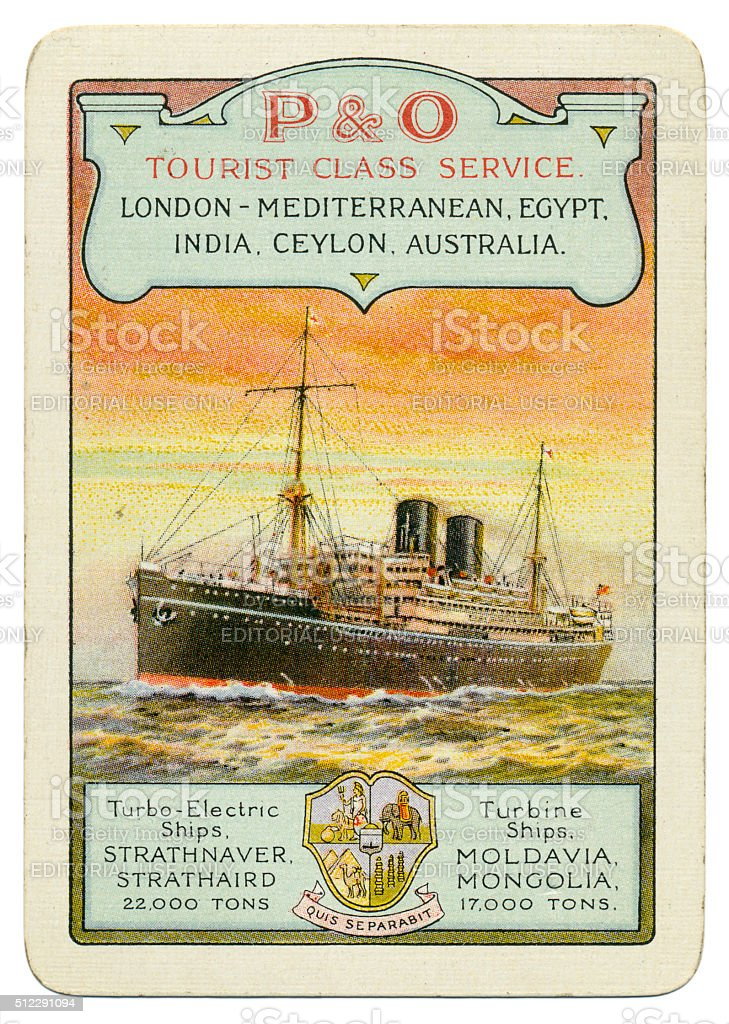 Playing card advertising P&O Tourist Class Service 1930 stock photo