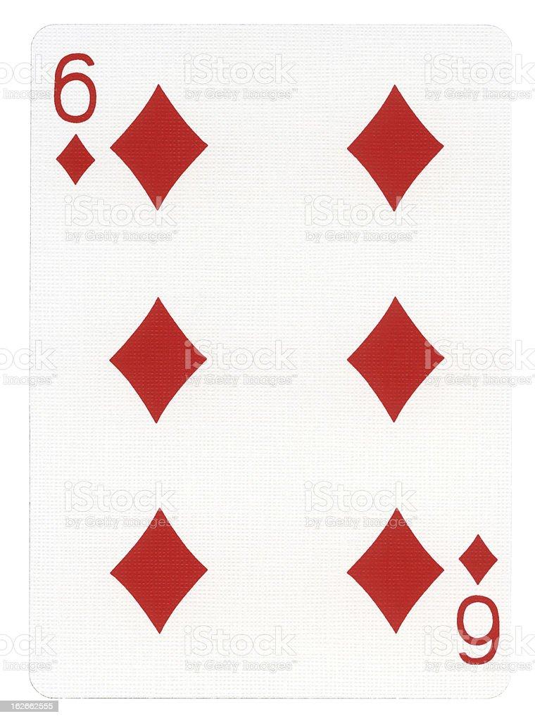 Playing Card - Six of Diamonds stock photo