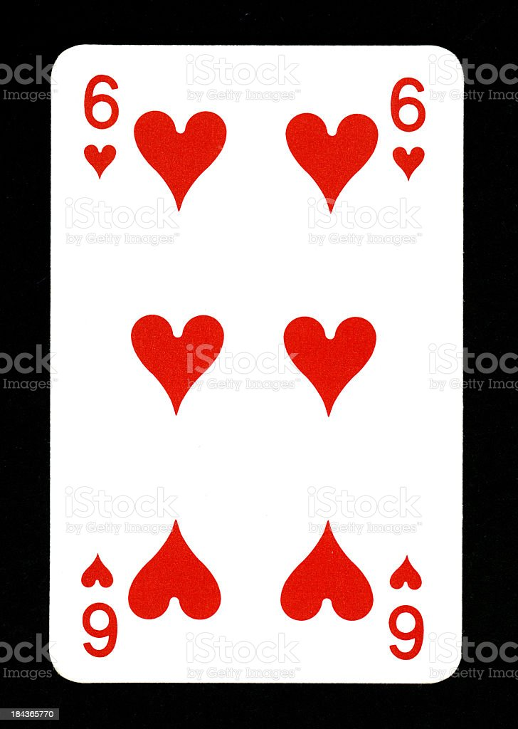 Playing Card: Six of Hearts royalty-free stock photo