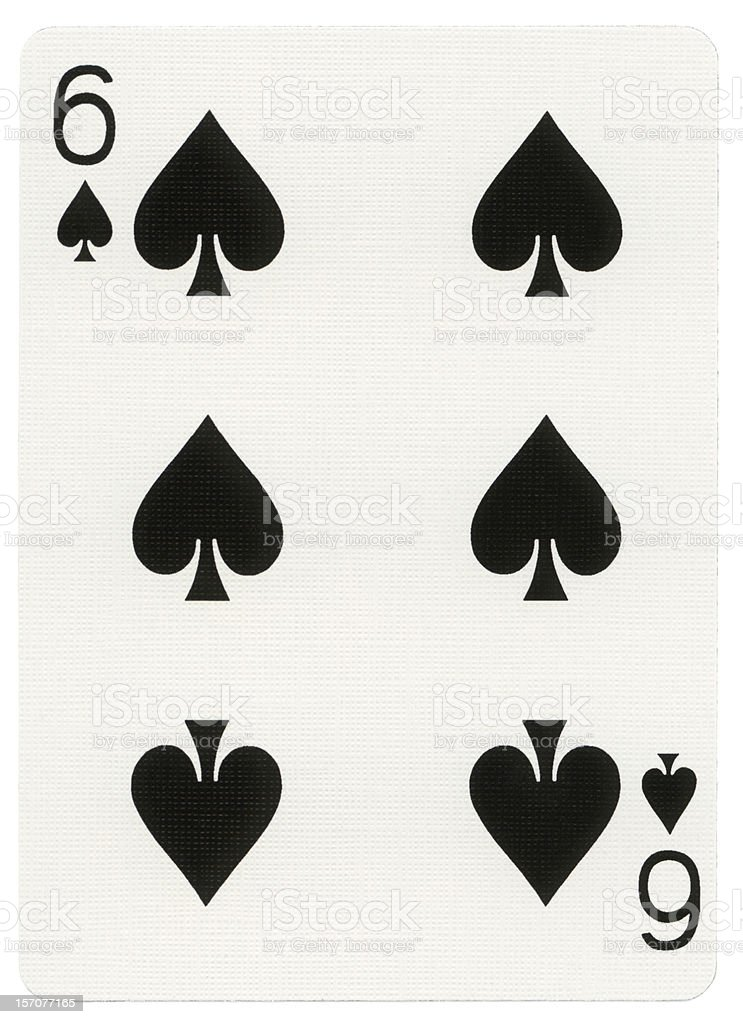 Playing Card - Six of Spades stock photo