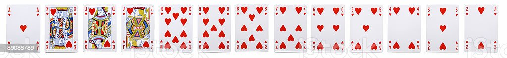 Playing Cards - 13 Hearts stock photo