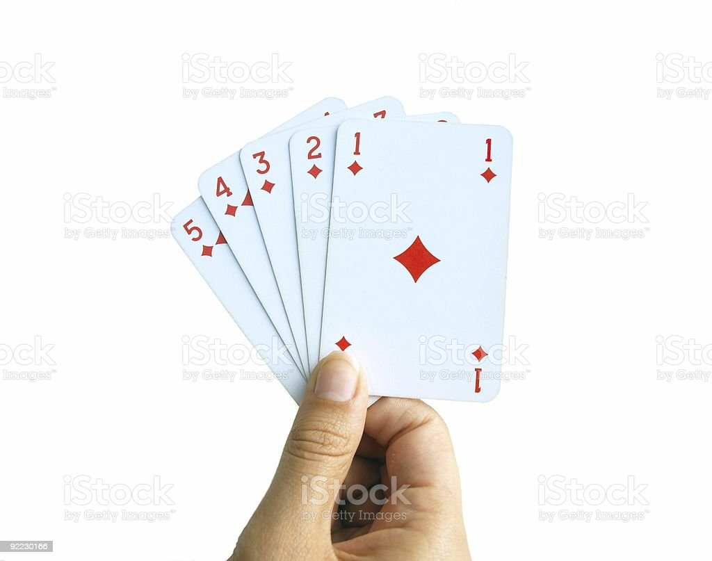 Playing cards - 5 diamonds to the ace stock photo