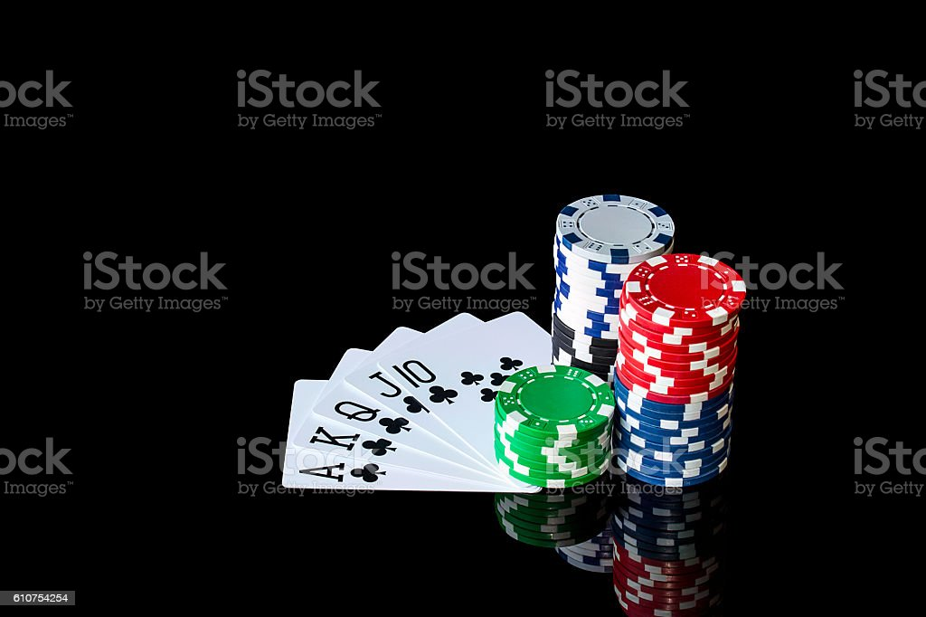 Playing cards and chips to play poker stock photo