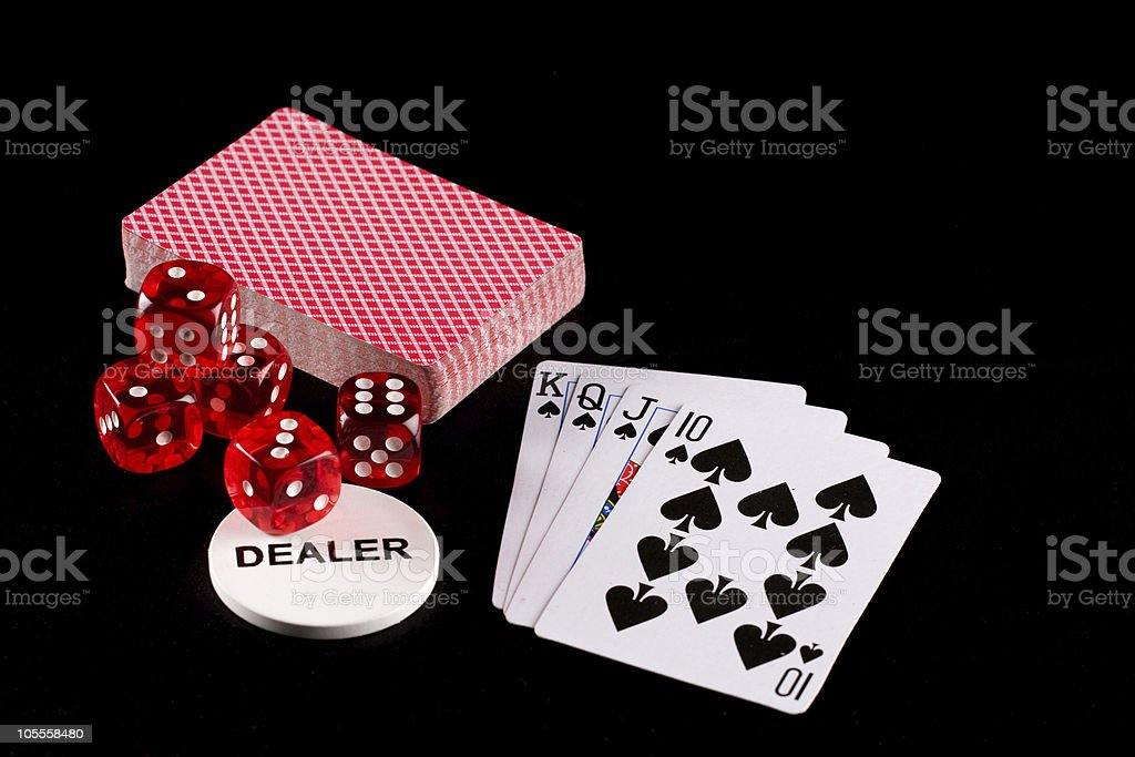 Playing cards and dice stock photo