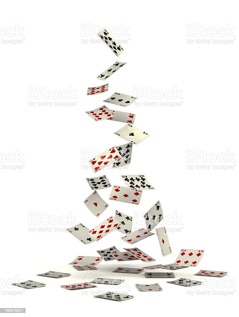 Playing cards falling from above stock photo
