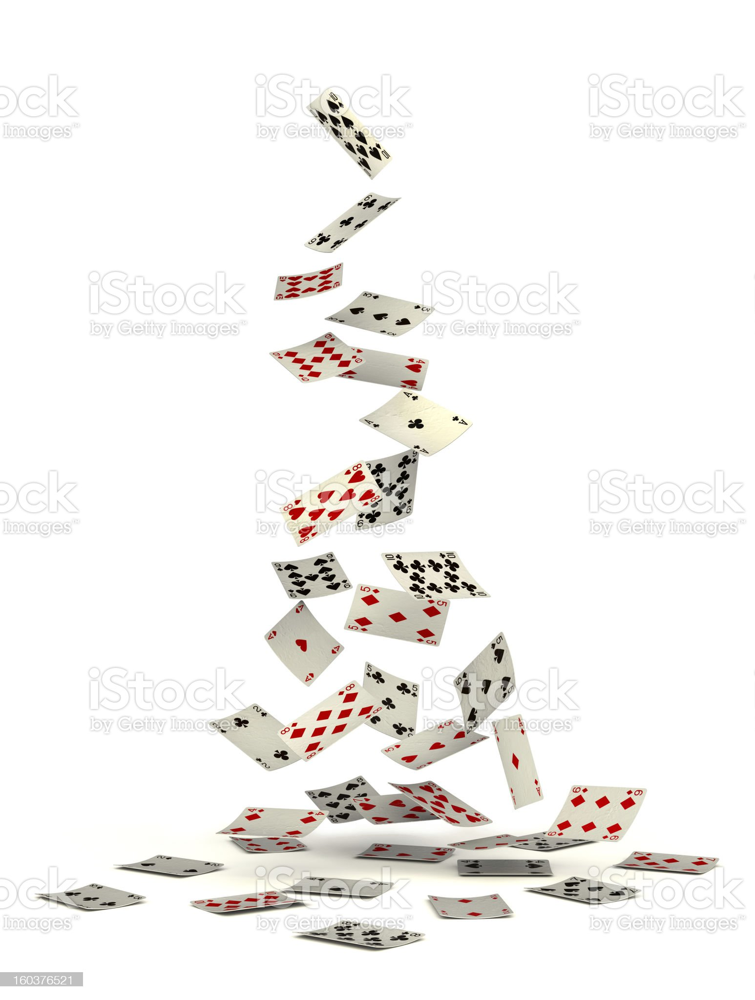 Playing cards falling from above royalty-free stock photo