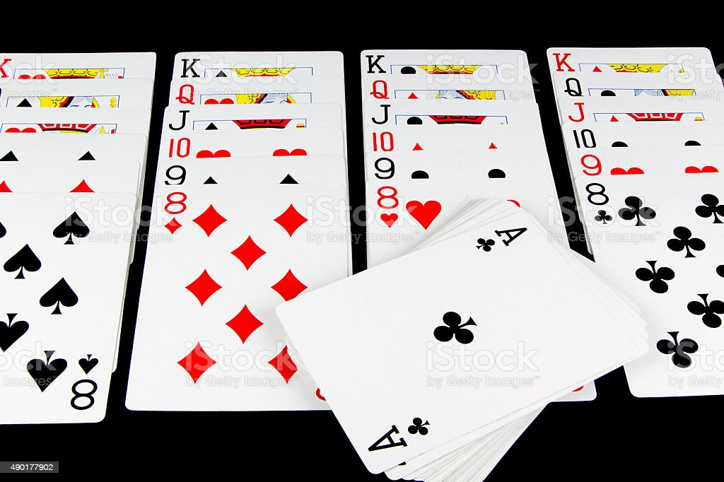 Playing Cards Game on Black Background stock photo
