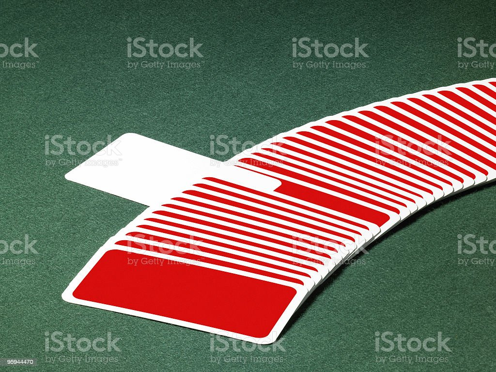 playing cards in a row stock photo