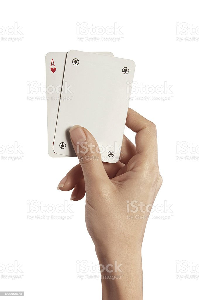Playing Cards In Woman Hand (Ace And Joker) royalty-free stock photo