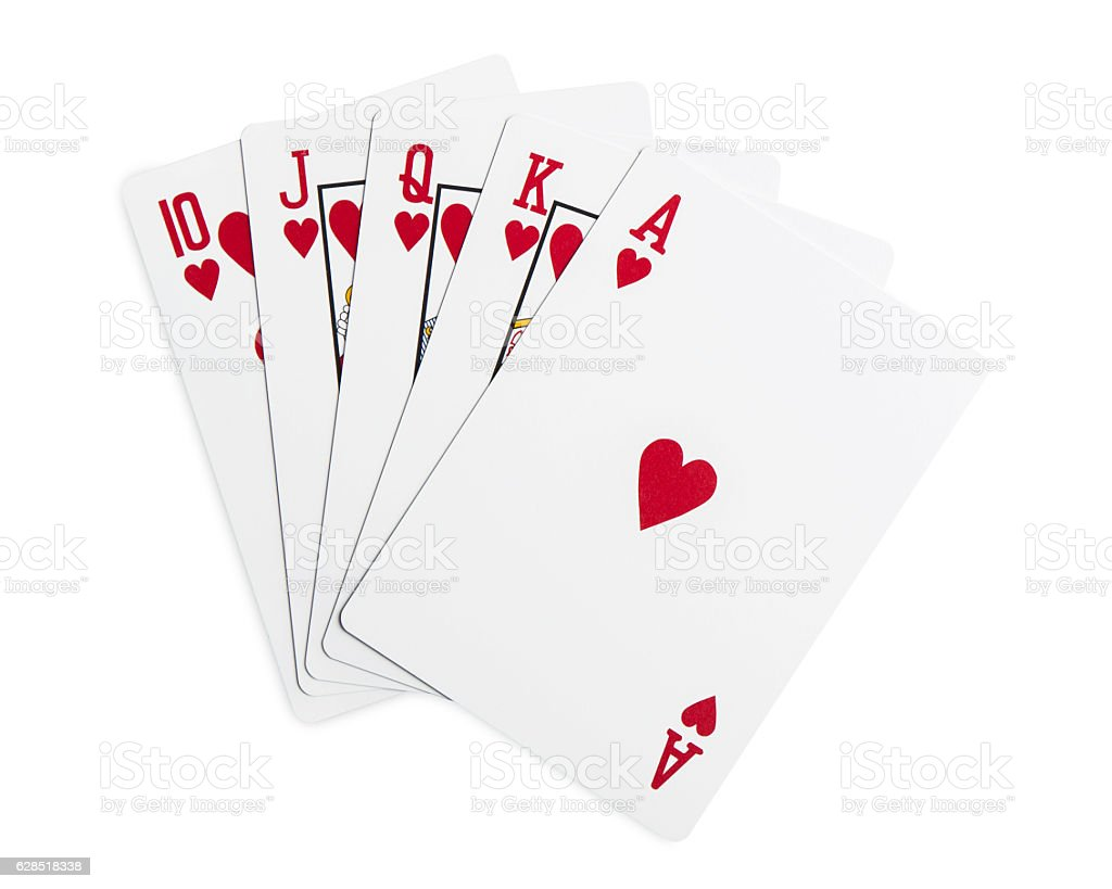 Playing cards - isolated on white with clipping path stock photo