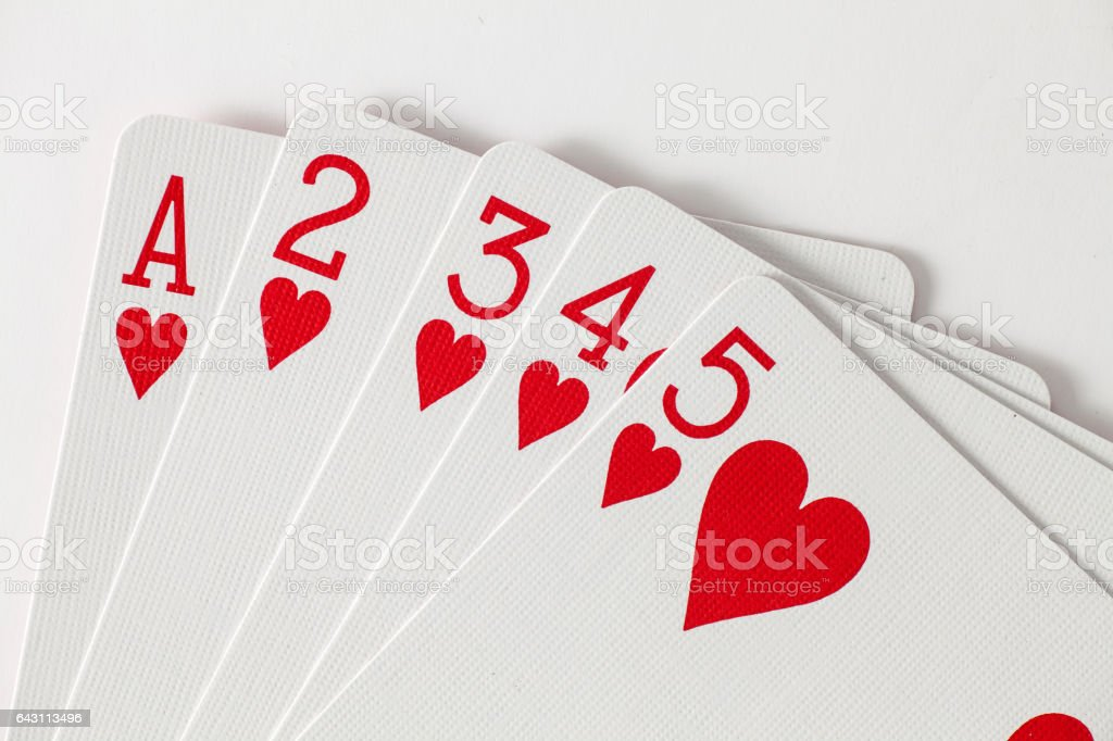 Playing Cards Low Straight Flush in Hearts stock photo