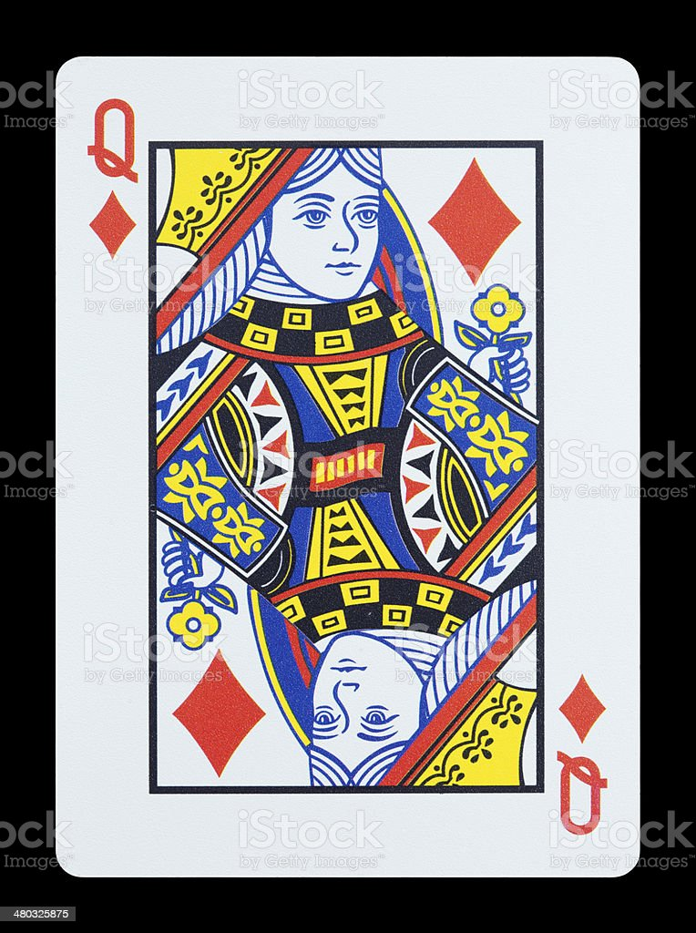 Playing cards - Queen of diamonds stock photo