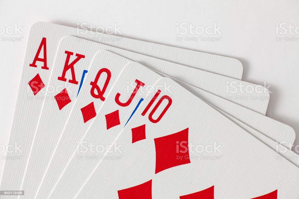 Playing Cards Royal Flush stock photo