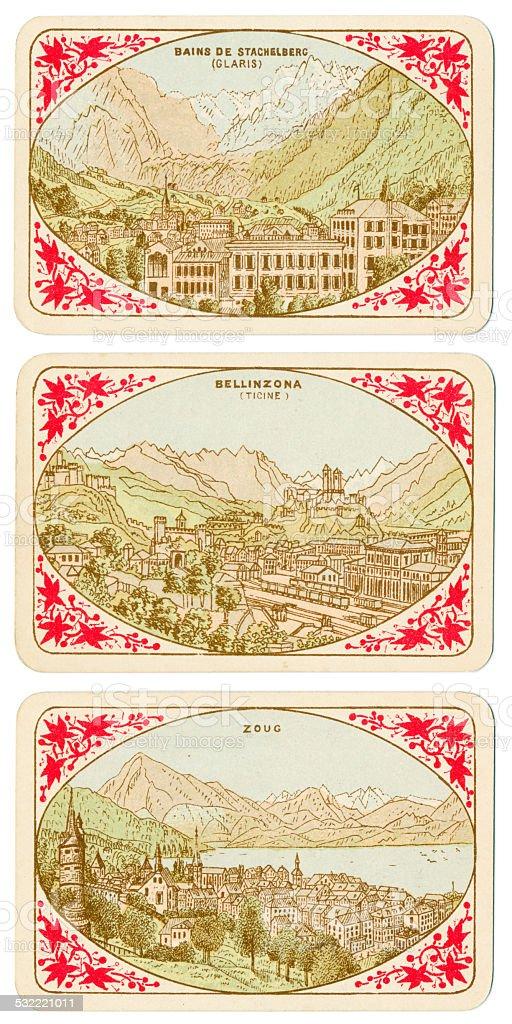Playing cards Switzerland 1880 Bains de Stachelberg Bellinzona Zoug stock photo