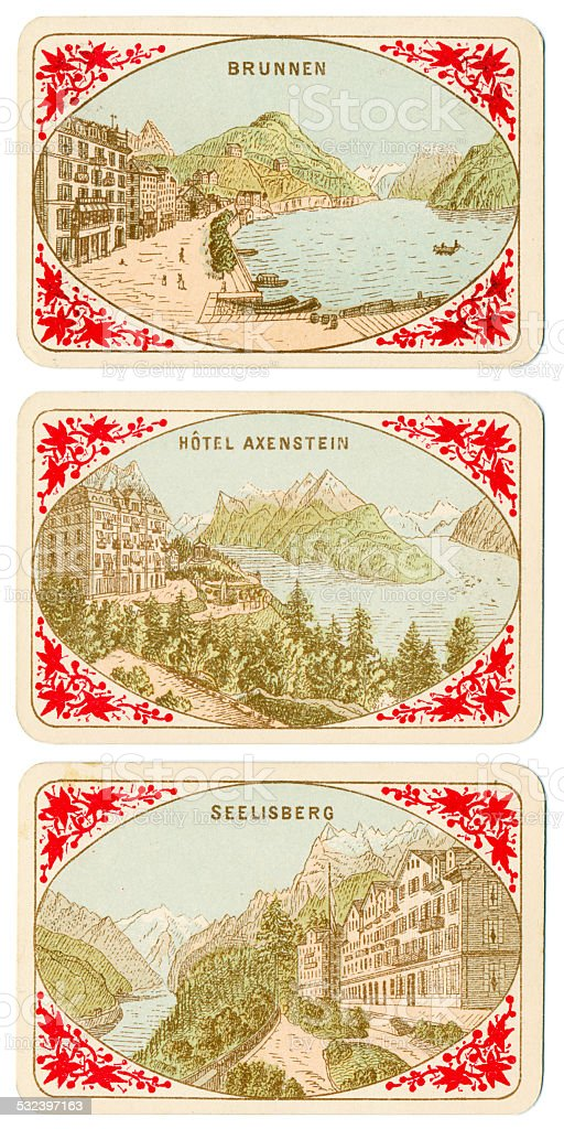 Playing cards Switzerland 1880 Brunnen Hotel Axenstein Seelisberg stock photo