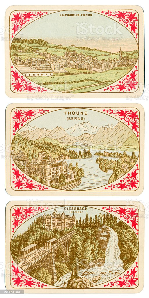 Playing cards Switzerland 1880 La Chaux de Fonds Thoune Giessbach stock photo