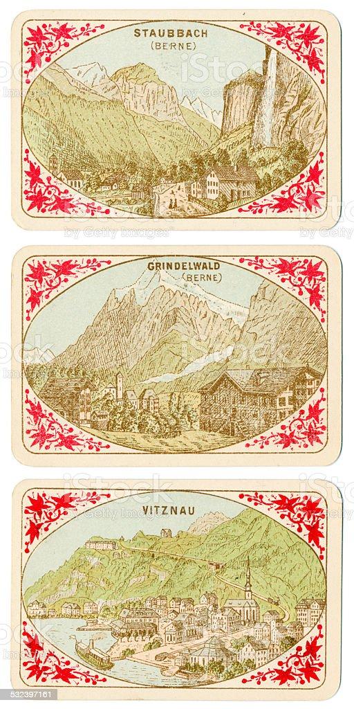 Playing cards Switzerland 1880 Staubbach falls Grindelwald Vitznau stock photo