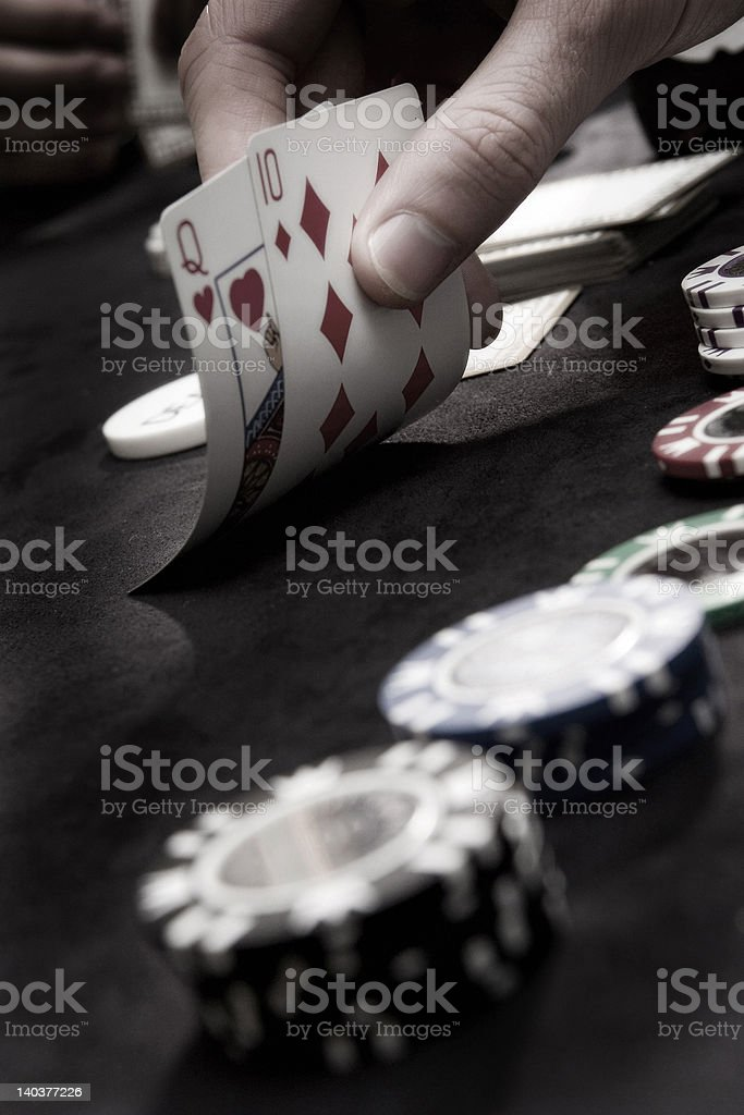 Playing cards with gamblings chips stock photo