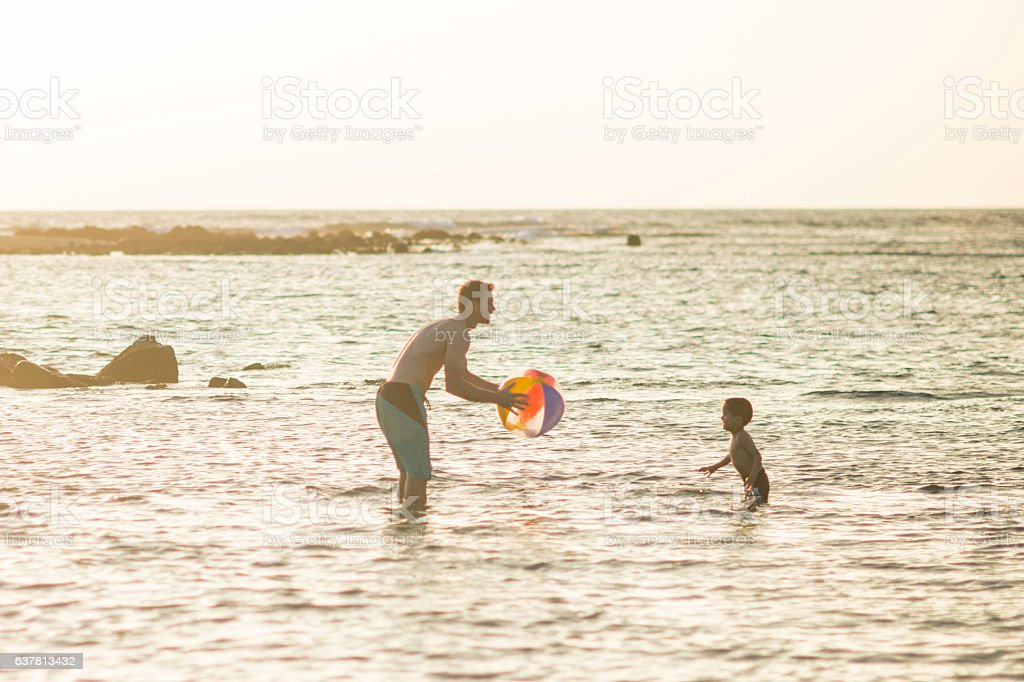 Playing Catch with a Beach Ball stock photo