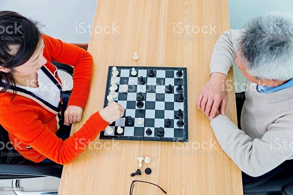 playing chess stock photo