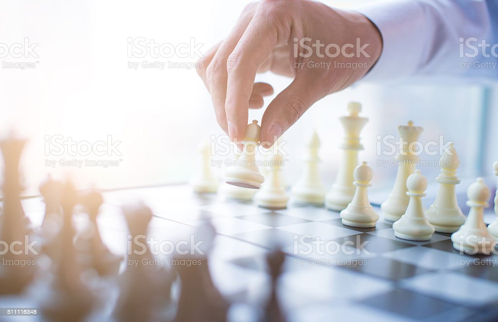 Playing chess stock photo